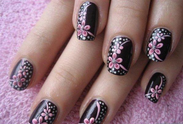 8 Diseños de Uñas Color Negro con Flores - ε Diseños e Ideas originales para Decorar tus Uñas з