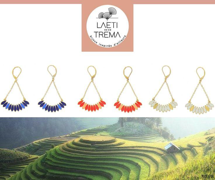 Que pensez-vous des boucles d'oreilles Bali Banjar? Existe en 3 coloris: doré corail, blanc et marine. Les bijoux Leati Tréma sont disponibles sur notre E-Shop www.manapur.com