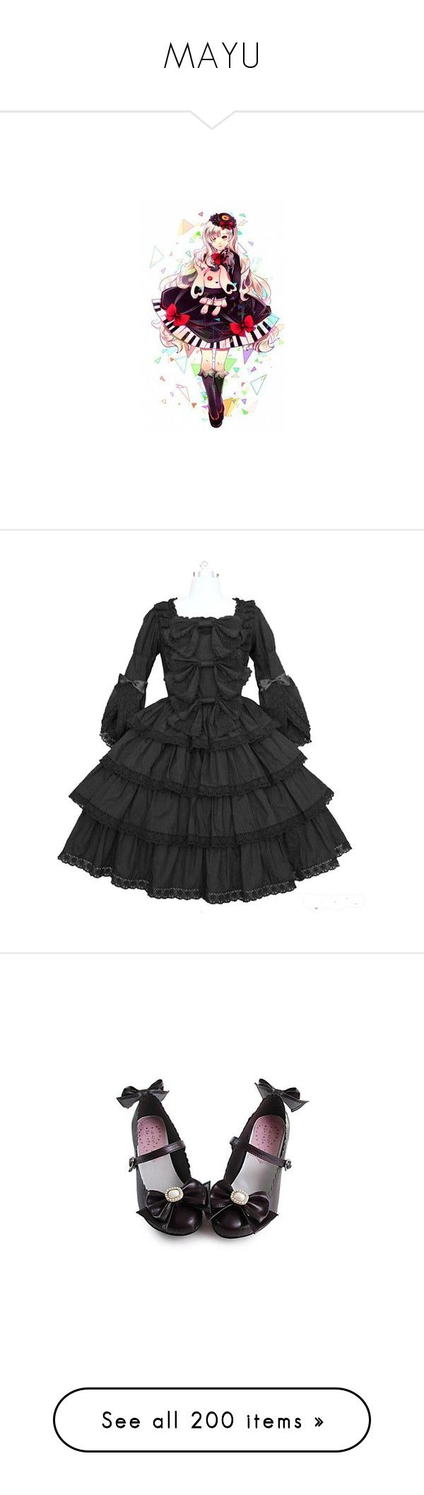"""""""MAYU"""" by adventuretimekitty ❤ liked on Polyvore featuring vocaloid, anime, costumes, dresses, goth, goth costume, french maid costume, gothic halloween costumes, sexy maid costume and french maid halloween costume"""