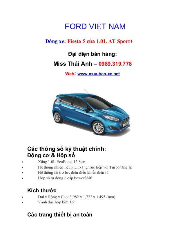 Ford fiesta 5 cửa 1.0 l at sport+