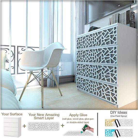 Coral – Furniture Appliques – Fretwork – Overlays – Makeover – Furniture Decor – Malm, Hemnes or Custom – Lattice – Ornaments – SKU:Coral