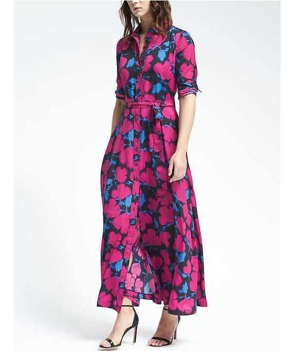 8c7c94701459b Details about NEW BANANA REPUBLIC FLORAL MAXI SHIRT DRESS BRIGHT ...