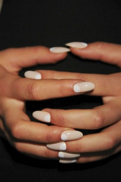 Nude and white half moon manicure - great idea