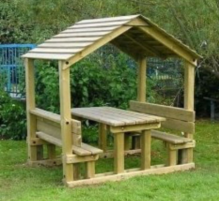 picnic table and arbor