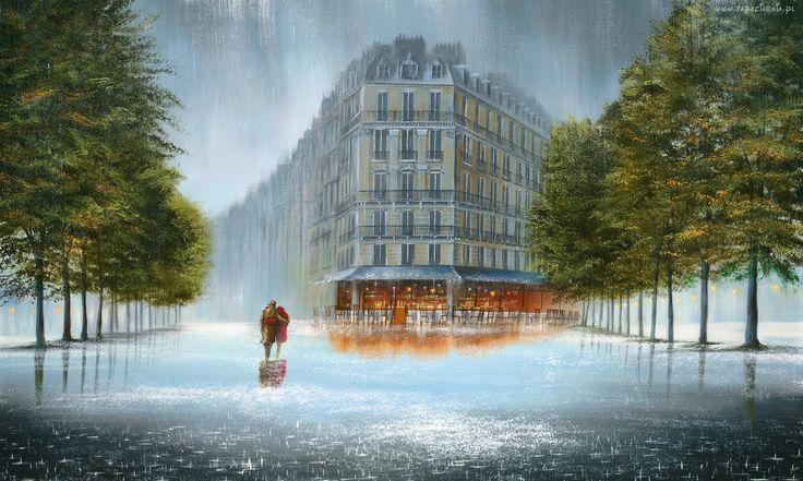 Deszcz, Ulica, Para, Miłość, Obraz, Olej, Art