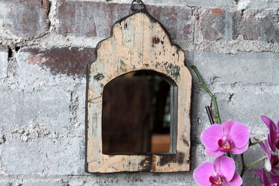 Mirror mirror on your wall...this will definitely be the fairest of them all! A perfect global accent to work into many styles of decor. This distressed antique frame Indian mirror will add the perfect touch of rustic global elegance. Simply beautiful!  We have many more of these mirrors in different colors. Check out our mirror section! They would be great in a group!  6.5W x 9.5 T  This piece ships via USPS for $9  Follow us... hammerandhandimports.com facebook.com/hammerandhandimports…