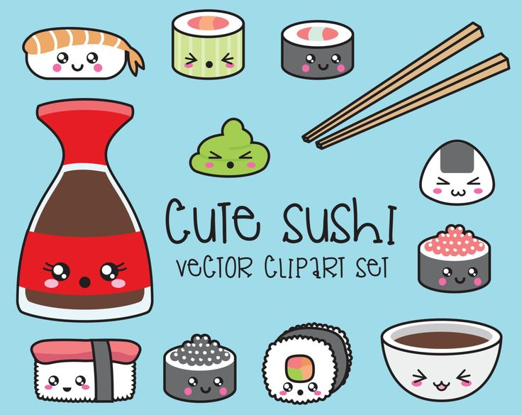 Premium Vector Clipart - Kawaii Sushi Clipart - Kawaii Sushi Clip Art Set - High Quality Vectors - Instant Download - Kawaii Clipart by LookLookPrettyPaper on Etsy