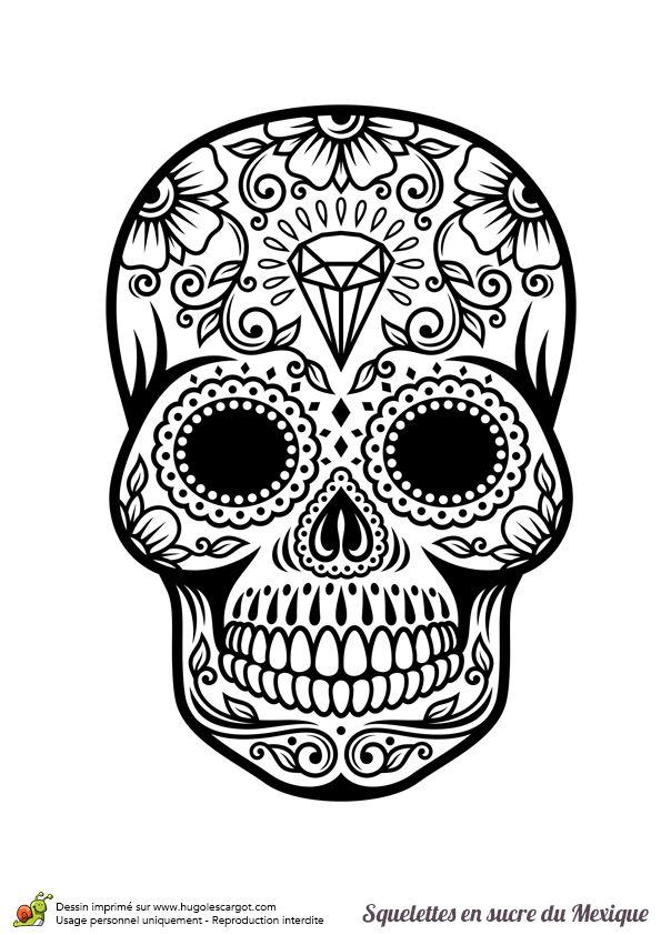Un tête de mort en sucre ornée de diamant, à colorier.
