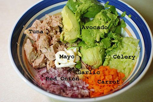 Avocado Tuna Salad!! I left out the mayo and added slivered almonds.....delicious :)