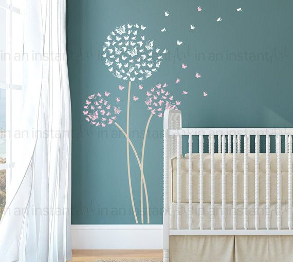 In An Instant Arts Original Blowing Butterfly Dandelion Wall Decal is a best seller on Etsy! This beautiful set comes with the round tops ready to apply and position on each stem. You arrange them the way you like! With 3 custom color options you can match this set to your theme for interior home decor.  { APPROX. SIZES }  Overall size shown: 43 wide x 71 tall Large Dandelion Top: 22 wide Small Dandelion Top: 13.5 wide  Whats Included: ~ Test Decal ~ 3 Butterfly Round Tops ~ 18 Extra…