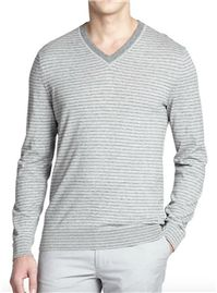 BOSS Hugo Boss - Tucci Stripe V-Neck Sweater: This tennis-inspired striped cotton sweater will make you the best dressed gent at the club…or the office.