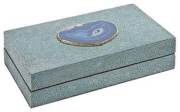 Destin Coastal Beach Turquoise Shagreen Blue Agate Rectangle Decorative Box - Sm - transitional - Decorative Boxes - Kathy Kuo Home