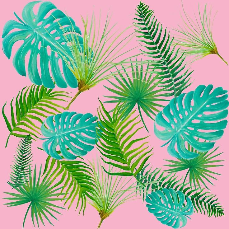 Tropical Leaves on pink backgroundTropical Leaves on pink background Throw pillows, floor cushions, phone cases, wall art, mugs, tote bags, stationery, etc.