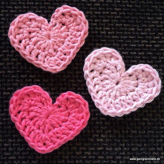 Hæklet fladt hjerte - Garn Grammatik