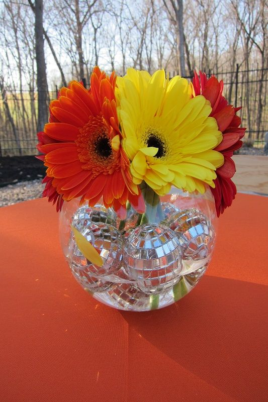 Disco balls and daisies - backyard birthday with jazzed up floral centerpieces. | AnnaBelle Events