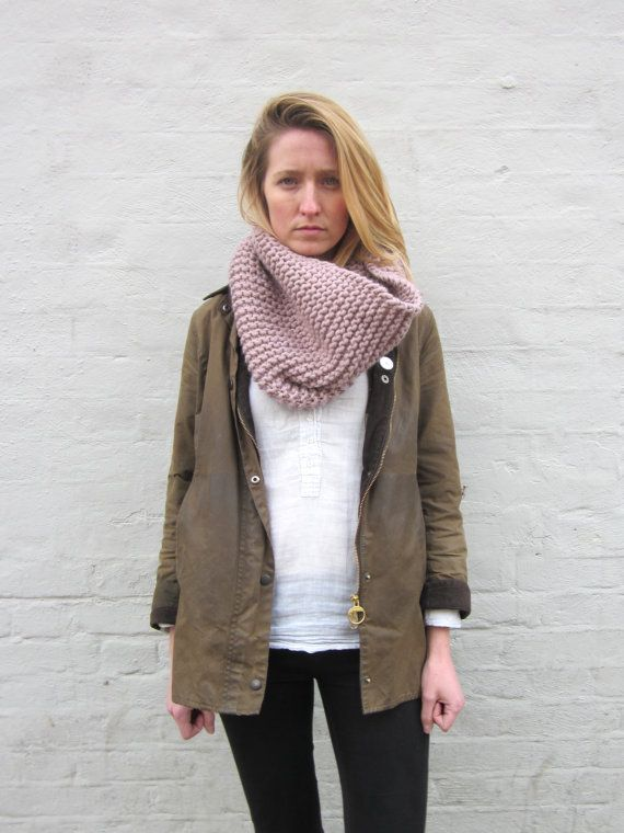 My love for pale pink! Hand Knitted Chunky Cowl  The Original Snood in by louisedungate, $75.00