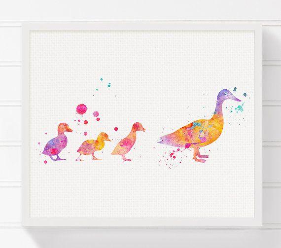 Duckling Art Print, Duckling Nursery Art, Nursery Wall Decor, Baby Girl Nursery, Girls Room Decor, Watercolor Duck, Duck Painting