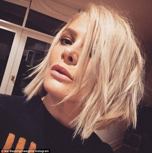 New do': Natalie Bassingthwaighte shows off her new platinum hair on Instagram on Thursday...