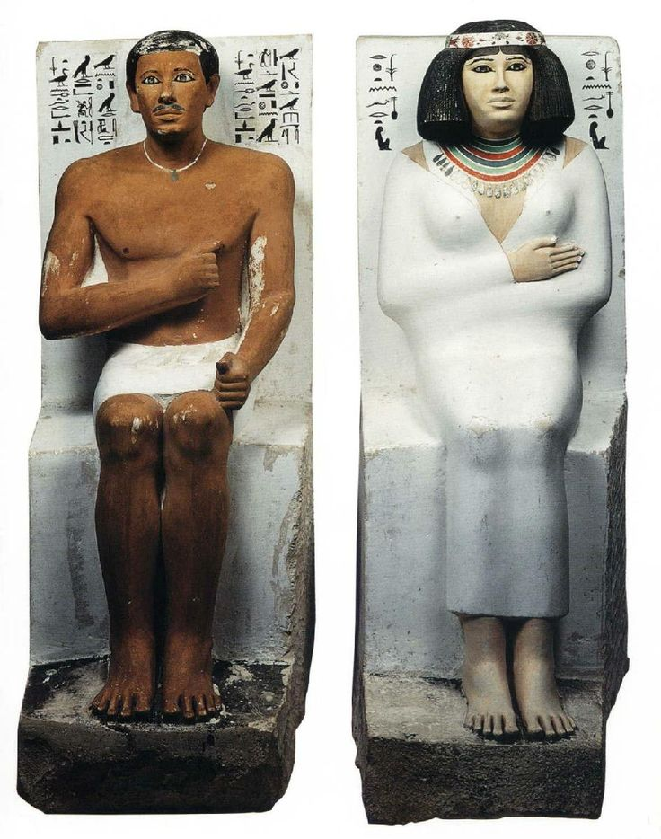 Statues of Rahotep and Nofret – beginning of the 4th Dynasty (c. 2600 BC) painted limestone from the mastaba of Rahotep, Maydum Cairo, Egyptian Museum