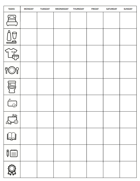 Minimalist Chore Chart for kids from The Coterie Blog