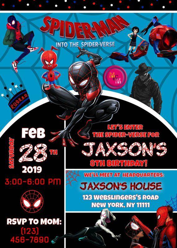 Editable Into The Spider Verse Invitation Printable Etsy Spiderman Birthday Invitations Spiderman Birthday Party Spiderman Birthday