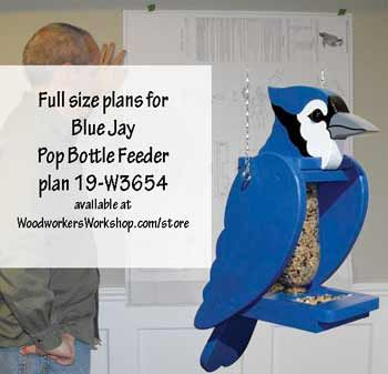 19-W3654 - Blue Jay Pop Bottle Bird Feeder Woodworking Plan. This fun blue jay shaped feeder uses a recycled pop bottle to hold the seed! Requires a plastic 1 liter wide-mouth bottle. Hinged top tilts back for easy filling.