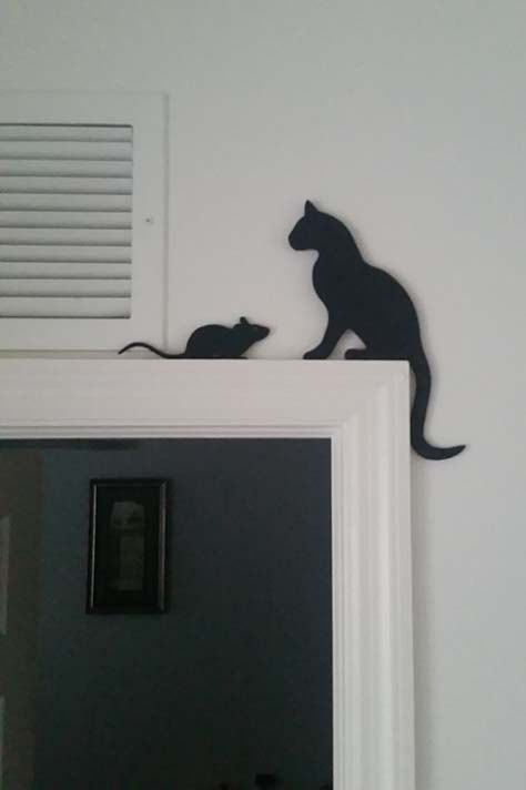 Excited to share the latest addition to my #etsy shop: Cat & Mouse Silhouettes Door Topper 2-pieces http://etsy.me/2nvNwlD #supplies #framing #cat #mouse #black #doortopper #housedecor #plywood #painted