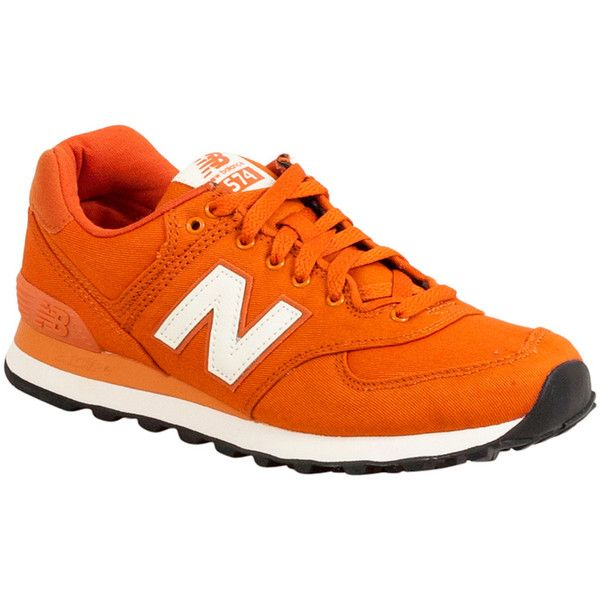 New Balance Women's 574 Waxed Canvas Low-Top Sneaker ($80) ❤ liked on Polyvore featuring shoes, sneakers, orange, orange shoes, orange sneakers, rubber sole shoes, new balance trainers and new balance