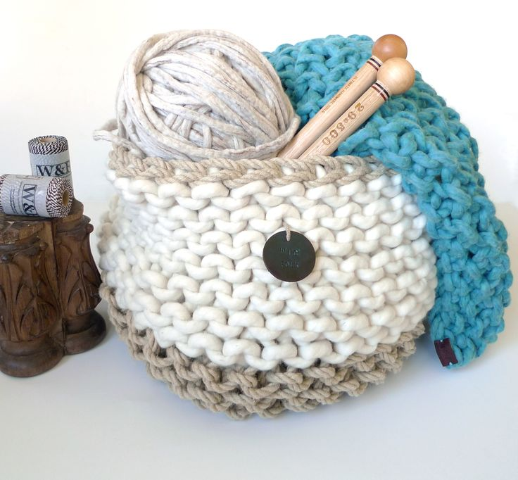 Giant soft wool and hemp rope knitted basket and teal wool throw and felted linen Fleck wool hanks