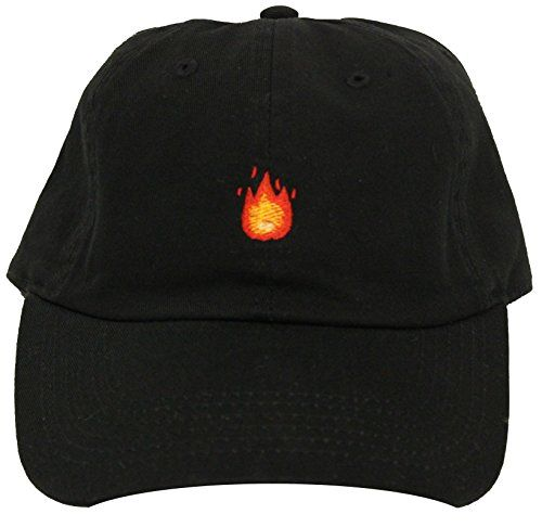 FIRE EMOJI EMBROIDERED ON THE FRONT OF THE CAP. THIS IS A UNCONSTRUCTED, ADJUSTABLE STRAPBACK HAT. SOLID BLACK CAP, DAD HAT UNISEX, ADULT SIZED ADJUSTABLE STRAPBACK CUSTOM EMBROIDERY FIRE IPHONE EMOJI 100% COTTON