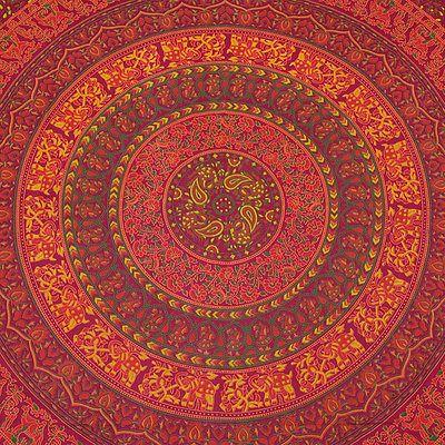 INDIAN BEDDING SHEET BEDSPREAD THROW TAPESTRY Vintage Ethnic Decorative Art