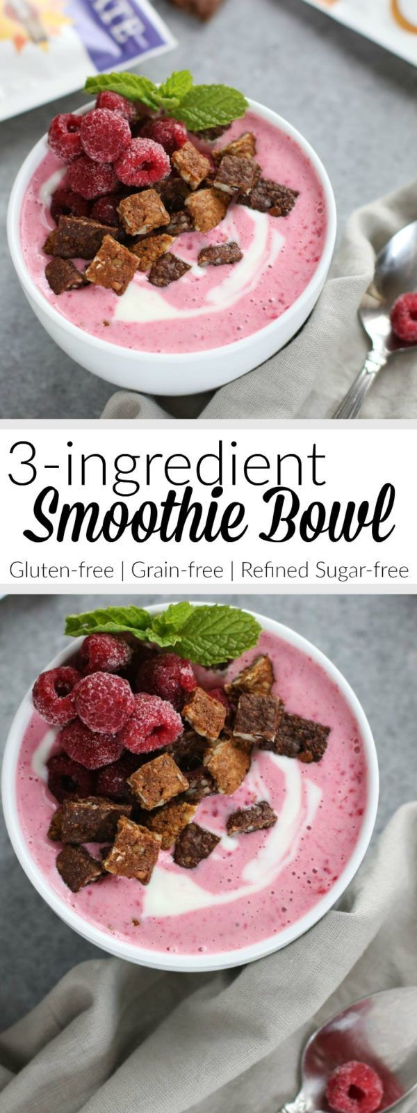 Snacks with benefits: Our 3-Ingredient Smoothie Bowl is the perfect little 5-minute sweet treat!   Gluten-free   Grain-free   Vegetarian   therealfoodrds.com