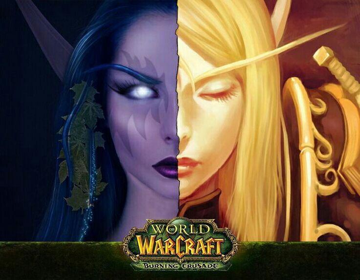 Blood elf and night elf from World of Warcraft
