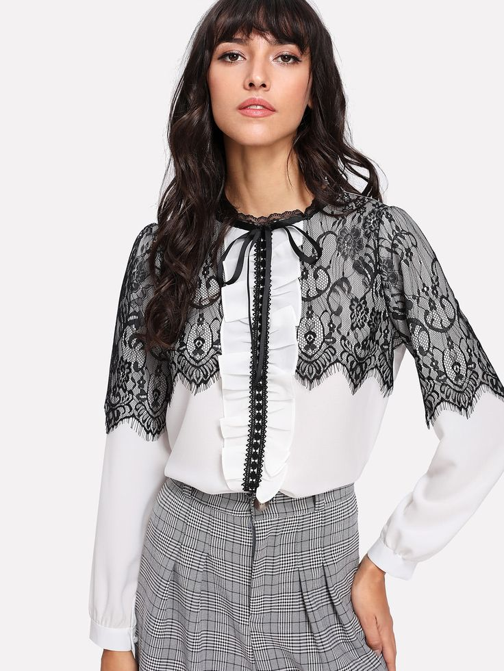 Shop Contrast Eyelash Lace Chiffon Blouse online. SheIn offers Contrast Eyelash Lace Chiffon Blouse & more to fit your fashionable needs.