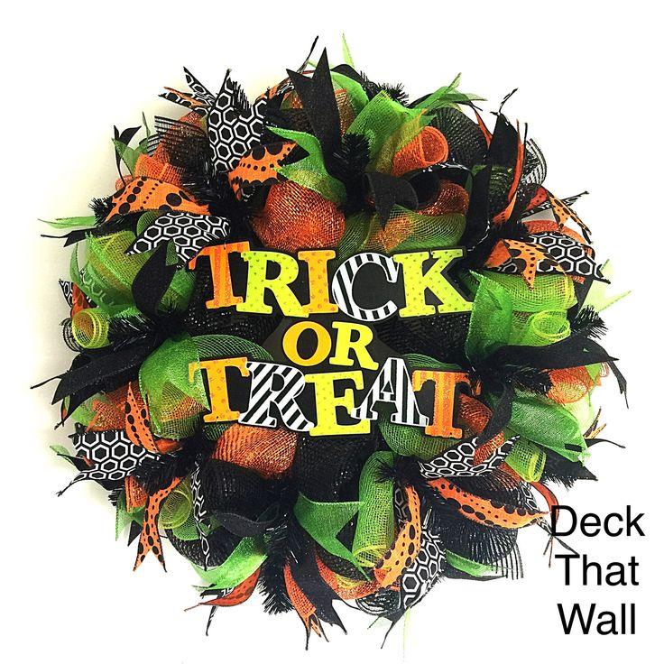 Orange Green Black Halloween Trick or Treat Mesh Wreath