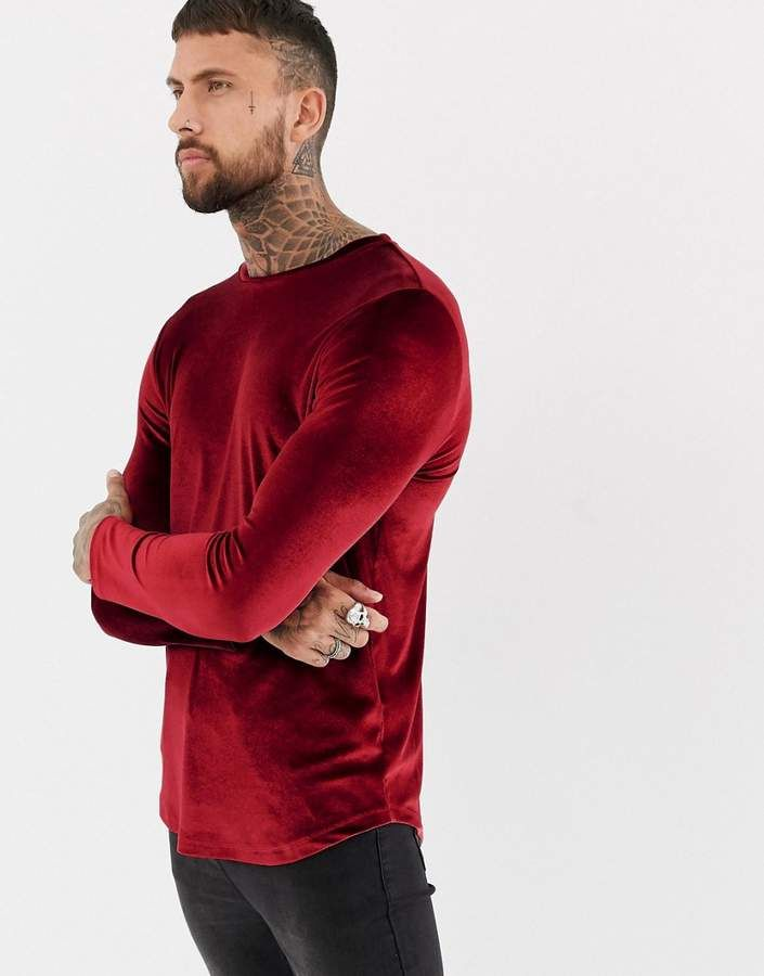 92802edf769e ASOS DESIGN longline long sleeve t-shirt in velour with curved hem in  oxblood