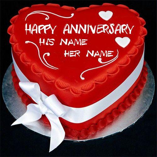 Write couple name on heart wedding anniversary cake