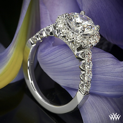 Ritani Masterwork Shared-Prong Diamond Engagement Ring from the Masterwork Collection. Featuring a 4-prong round halo and gorgeous Round Brilliant Diamond Melee (0.90ctw; G/H VS) finish off this look beautifully.
