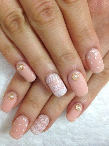 Lovely! lace nail  .... thinking about pink nails with ring finger having lace nail art for wedding