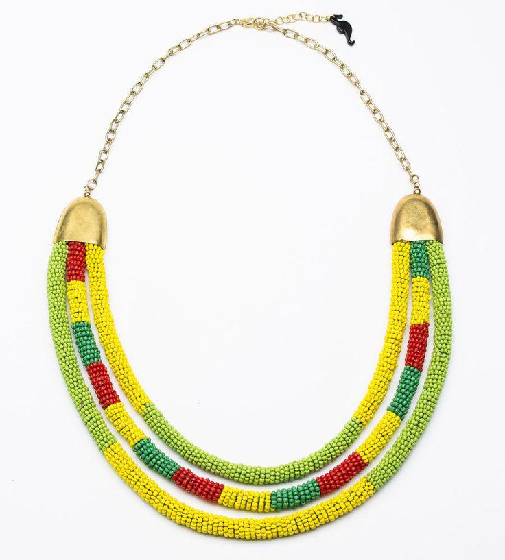 купить Желто-зеленое ожерелье из бисера Цвета Жизни фото.