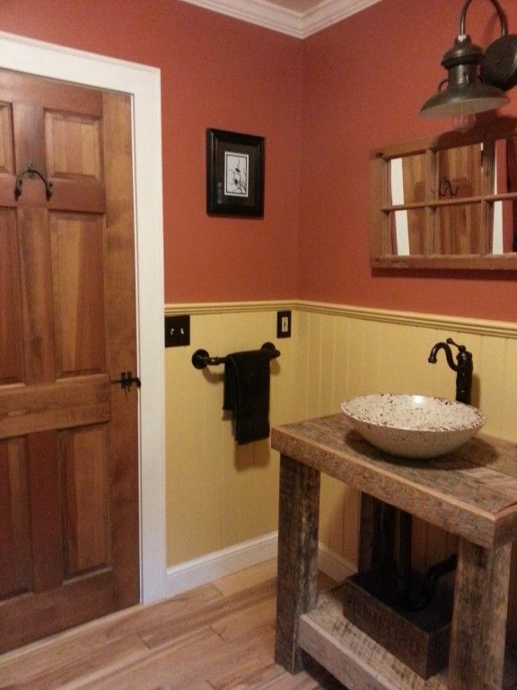 Barn Wall Sconce Adds a Touch of Country to Bathroom Remodel
