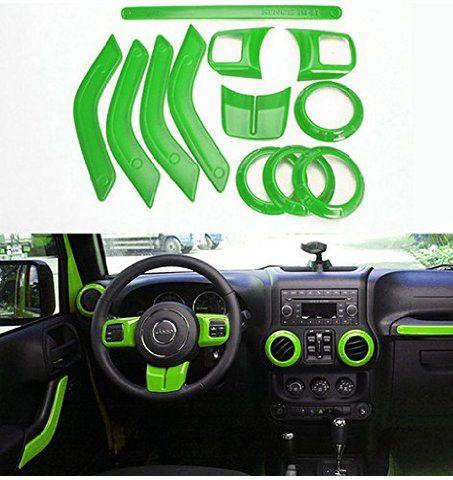 Opall Full Set Interior Decoration Trim Kit Steering Wheel Trim, Centrer Console Air Outlet Trim, Door Handle Cover Inner, Passenger Seat Handle Trim For Jeep Wrangler 2011-2016 4-door (Green)