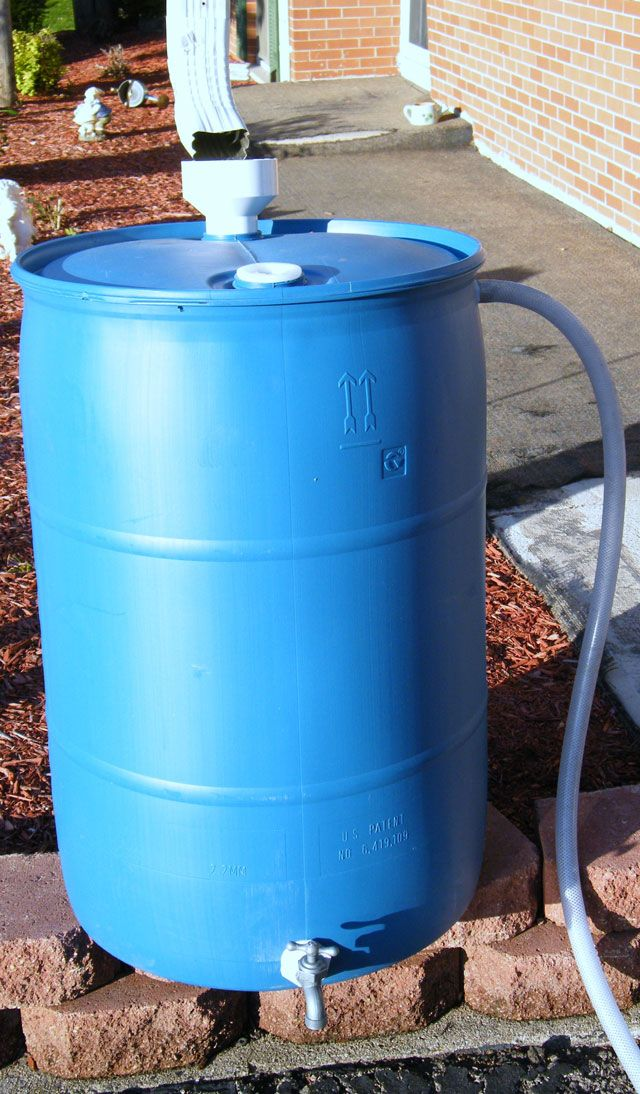 xREAD: www.ohiobarrel.com Recycled Food Grade Barrels for Rainwater Collection; Cistern for home uses, maybe use the rain barrels for garden uses. That water doesn't need to be purified.