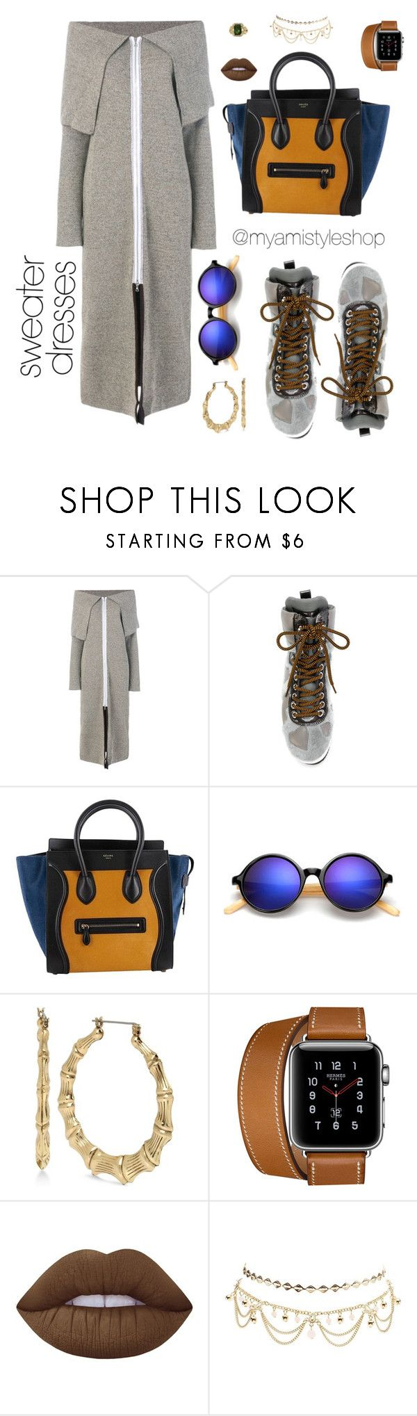 """""""Ci 🤗💕❤️"""" by myamistyle ❤ liked on Polyvore featuring Walk of Shame, Philippe Model, CÉLINE, Betsey Johnson, Lime Crime, Charlotte Russe, StreetStyle, Boots, celine and sweaterdresses"""