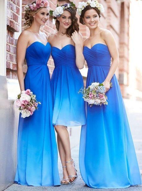 Casual A-linie Herzform Ausschnitt Bodenlangen Blau Brautjungfernkleid mit Rüschen
