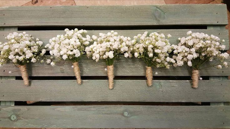 Gypsophila buttonholes with twine wrapped stems
