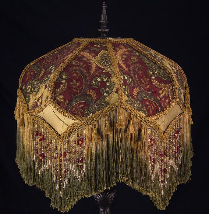 Victorian Lamp Shade Paisley Damask, Victorian Lamp Shade Beaded Fringe