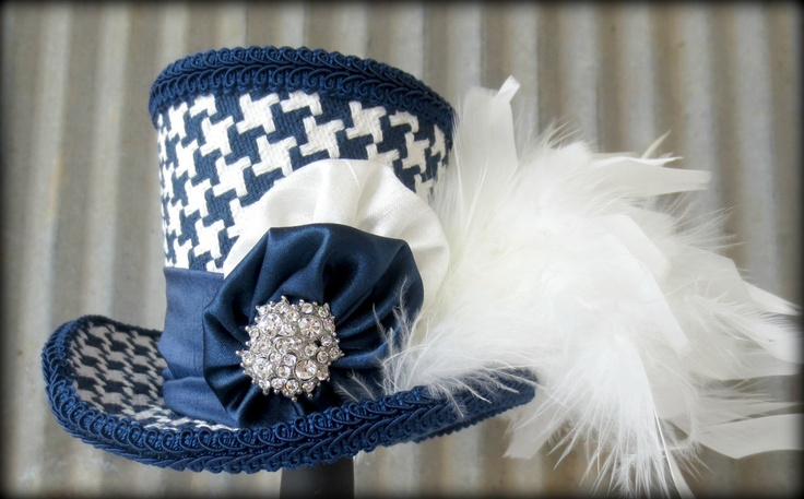 Blue and White Herringbone Mini Top Hat, Baby Shower, Mini Mad Hatter Hat, Tea Party Hat, Alice in Wonderland. $42.00, via Etsy.
