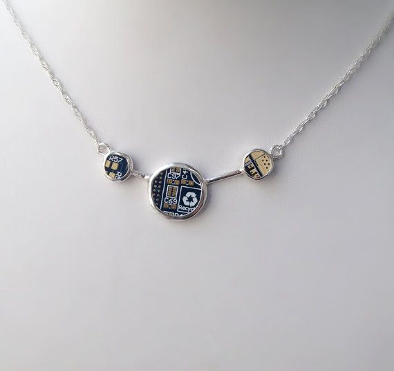 Sterling Silver and Blue PCB board  (motherboard) Necklace 16 inch