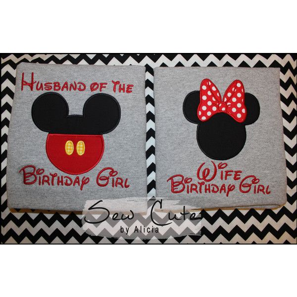 Husband of the Birthday Girl Disney Shirts Wife Birthday Girl ($25) ❤ liked on Polyvore featuring tops, t-shirts, grey and women's clothing